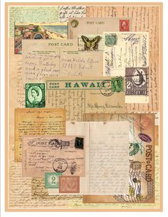 Sending you this letter- Vintage paper by dbj DESIGNS Journal Pages Printable, Art Journal Pages, Art Pages, Art Journals, Paper Collage Art, Paper Art, Printable Scrapbook Paper, Glue Book, Collage Vintage