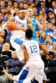 UK forward Willie Cauley-Stein (15) grabbed a rebound in front of Northwood forward Dan O'Keefe (4) during the first half of the Northwood at Kentucky exhibition basketball game at Rupp Arena in Lexington, Ky., on Thursday Nov. 1, 2012.