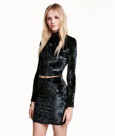 Skirt in crushed velvet | Product Detail | H&M