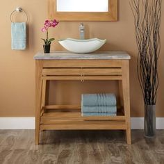 vessel sink bathroom vanity wood shelf - Google Search