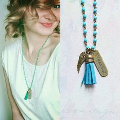 Ocean Blue // Necklace metal brass with beads of by OhKsushop