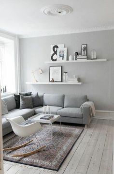 wohnzimmerwand ideen in grau wandfarben:
