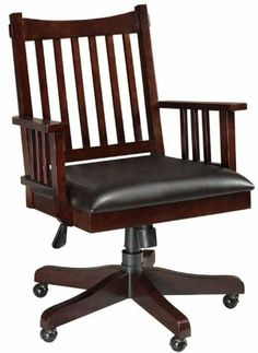 """Artisan Office Chair, 43""""Hx28""""W, DARK OAK by Home Decorators Collection. $248.99. 43""""H x 27.5"""" square.. Assembly required.. With a sturdy construction, convenient features like smooth rolling casters and a reliable swivel mechanism as well as soft, supple bi-cast leather upholstery, this office chair from our Artisan Collection offers the style and comfort you want in your home office furniture arrangement. The beautiful wood grain and distinctive details ensure that you will..."""