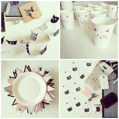 Décoration anniversaire Théme Chat par My first box http://planchardcrea.tumblr.com/post/120521555225/idees-pour-un-anniversaire-de-chaton-1-2