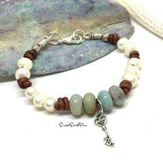 Freshwater Pearl Amazonite Leather Bracelet Knotted Pearl #pearlbracelet #fashion #gifts #bracelet #amazonite #freshwaterpearl #leatherbracelet #jewelry #sunsetsouthpaw #etsy #etsyseller  #handmade
