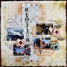 Scrap o wycieczce do stolicy Polski z użyciem ćwieków vintage i papierowych kwiatków Scrapbooking, Memories, Rose, Movie Posters, Vintage, Art, Memoirs, Art Background, Souvenirs