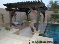 Custom Barbeque Grill with swim up bar, Outdoor Kitchen Design - Phoenix Scottsdale - Sonoran Landesign Backyard Pool Designs, Pool Landscaping, Backyard Patio, Outdoor Pool, Outdoor Spaces, Outdoor Living, Patio Bar, Outdoor Barbeque Area, Backyard Barbeque