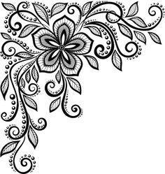 Resultado de imagen de diseño flores blanco y negro