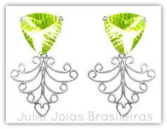 Brincos em prata 950 e greengold (950 silver dangle earrings with greengold)