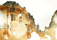 These architectural watercolor studies by Sunga Park seem to drip and fade out of focus like a memory or a dream. The graphic designer and illustrator currently lives and works in Busan, South Korea as a wallpaper designer but it seems her true passion is for watercolor and other artistic endeavors. 'I'm living in Busan, South Korea, worked as a graphic designer and drawn illustrations for kids. I majored in economics and didn't have a regular art school education in some reasons....