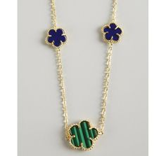 Jardin malachite and lapis clover charm long necklace