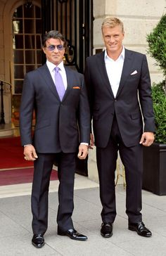 "Dolph Lundgren Photos - Sylvester Stallone and Dolph Lundgren step out of the Ritz Hotel to promote their current film, ""The Expendables. - Sylvester Stallone and Dolph Lundgren at the Ritz Hotel Sylvester Stallone, Frank Stallone, Stallone Rocky, Jackie Stallone, Celebrities Then And Now, Beautiful Celebrities, Stallone Schwarzenegger, Rocky Balboa Poster, Brigitte Nielsen"