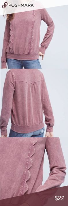 Anthropologie Eri and Ali scalloped sweatshirt In excellent condition with no flaws. Cotton/rayon/spandex blend. Pullover styling. Scalloped front detail. Thanks for looking and make an offer.💕 Anthropologie Tops Sweatshirts & Hoodies