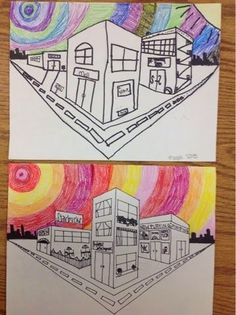 Knight's Smartest Artists: One point, two point Perspective Drawing 2 POINT 2 Point Perspective Drawing, Perspective Art, Teaching Drawing, Teaching Art, Name Drawings, 7 Arts, 7th Grade Art, Middle School Art Projects, Ecole Art