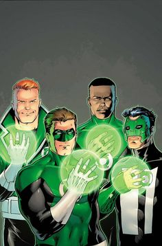 Lanterns of Earth Left to Right: Guy Gardner, Hal Jordan, Jon Stewart, Kyle Raynor