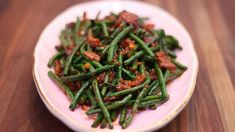 Jump to Recipe·Print Recipe Watch the Video First! Hi guys! This is the recipe of 2017 Asian at Home Holiday Special Recipes! 😀 I'm so thrilled to share my… Veggie Side Dishes, Vegetable Sides, Side Dish Recipes, Food Dishes, Bean Recipes, Spicy Recipes, Stir Fry Long Beans, Spicy Green Beans, Recipes