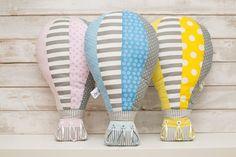 Hot Air Balloon baby throw pillow by Nuppi #hotairballoon #Pastelcolor #nurserydecor