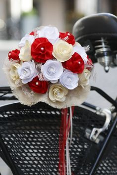 wedding handmade bouquet with paper and ribbons!
