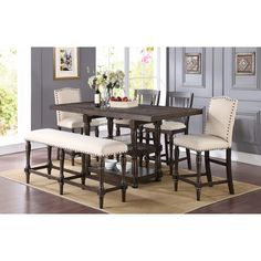 Wilhelmina Counter Height Extendable Dining Table #birchlane