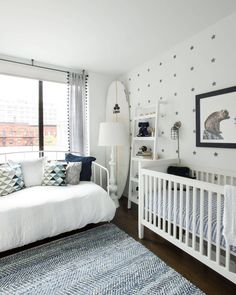 A nursery so sweet and serene, babies actually sound like a really good idea right about now. #uhoh #babyfever New tour live on the Mag! [LINK IN PROFILE✨] // Design by @styledprettyny of #HomepolishNYC + photo by @claireesparros.
