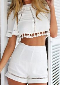 Style d'é Crop Top et Short Set Imprimer Salopette Femmes Casual Sexy Resort Wear Libres monos mujer macacao feminino Combishort Crop Top Styles, Two Piece Outfits Shorts, Crop Top Outfits, Cropped Tops, Rompers Women, Jumpsuits For Women, Women Shorts, Crop Top Et Short, Crop Top Und Shorts