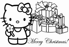 Hello Kitty Merry Christmas Coloring Pages Hello Kitty Colouring Pages, Cat Coloring Page, Cartoon Coloring Pages, Coloring Book Pages, Coloring Pages For Kids, Kids Coloring, Colouring Sheets, Disney Merry Christmas, Hello Kitty Christmas