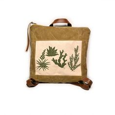 bucket backpack • waxed canvas backpack • handprinted olive green cactus print - brown waxed canvas backpack • summer backpack