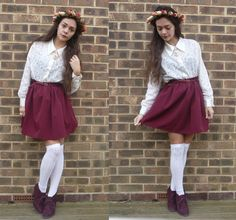 Diy Floral Headband, Lace Shirt, Diy Burgundy Skirt, White Lace Knee Highs, Ankle Boots