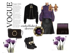 """""""Purple and black"""" by micettes ❤ liked on Polyvore featuring Alexis, Belstaff, Balmain, Givenchy, Yves Saint Laurent, Surratt, purple, black, lace and embellishedsleeves"""