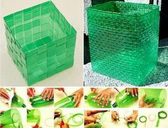Weave a box from a plastic  bottle