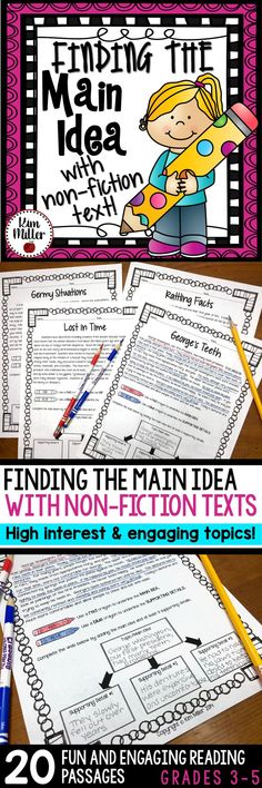 20 different non-fiction reading passages for students to use while they practice finding the main idea and supporting details. These high interest and engaging non-fiction topics make learning about main idea fun and interesting for students!