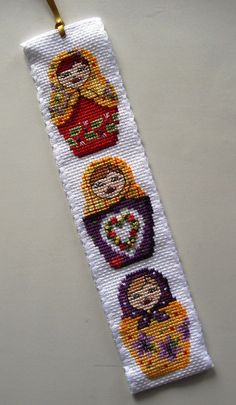 Russian Dolls/Matryoshka Bookmark.Cross Stitch Crazy.