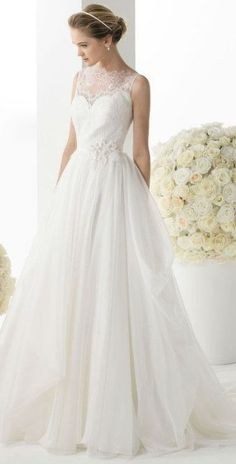 A line Tulle Wedding Gown with Lace Crystal Beading Embellishment