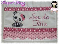 Toalhinha Sou da titia com ursinha panda http://ateliedemimosdaquelsfs.blogspot.com.br