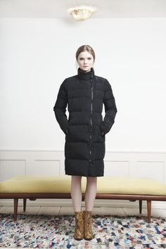 Rützou black down coat with zipper and high neck