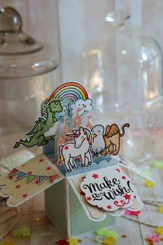 Fairytale Card in a box using Lawn Ever After critters stamps. The rainbow is from Avery Elle Be a unicorn stamp set. Sentiment is from Make A Wish from Mama Elephant.