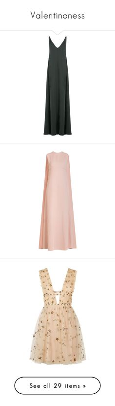 """Valentinoness"" by stradlatersgirl ❤ liked on Polyvore featuring dresses, gowns, long dresses, green, green silk dress, green dress, long silk dress, floor length gowns, low v neck dress and valentino"