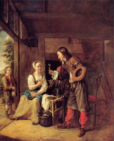 """Painting of the Day! Pieter de Hooch (1629-1684) """"A Man Offering a Glass of Wine to a Woman"""" Oil on wood c1654-c1655 To see more works by this artist please visit us at: http://www.artrenewal.org/pages/artwork.php?artworkid=7769&size=large"""