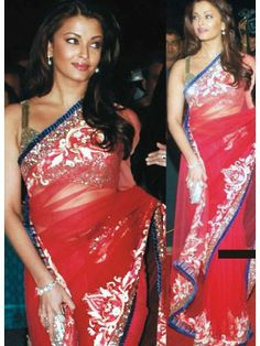 Aishwarya Rai Red Net Embroidered Saree Check our New Bollywood collection…