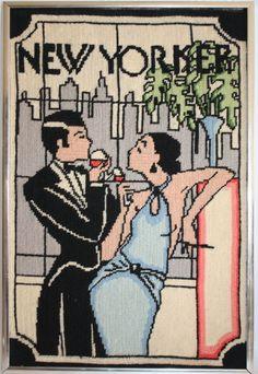 The New Yorker Needlepoint Art Deco Gatsby Style with New York Skyline