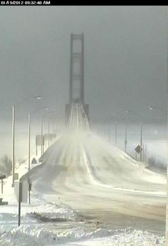 Mackinaw Bridge or the Mighty Mac that connects upper and lower Michigan in the winter.{the Mackinaw bridge is beautiful but I always am usually freaked out when we drive across. Mackinac Island, Nebraska, Winter Szenen, Winter Storm, Mackinac Bridge, Foto Poster, State Of Michigan, Lake Michigan, Northern Michigan