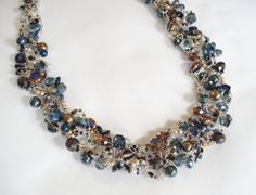 Wire Crochet Beaded Necklace Blue Amber Teal by DeodateJewelry, $70.00