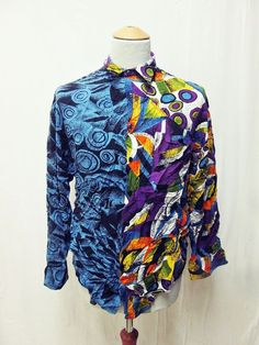 Vintage 1990s Psychedelic Split Personality Geometric Party Pattern Shirt Large