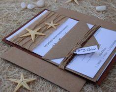 Beach Wedding Invitation Card Custom Invitations Embossed