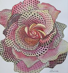 Zentangle rose - using a recognizable form and filling with various doodles.  Medium = watercolor over pen and ink.  Artist = Danilla