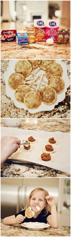 Mini Pumpkin Pie Pops! Is it just us or does everything in mini form taste SO much better? They are so easy to make and incredibly tasty! #pumpkinpie #pumpkin #pie #piepops #dessert #falldessert #thanksgivingdessert