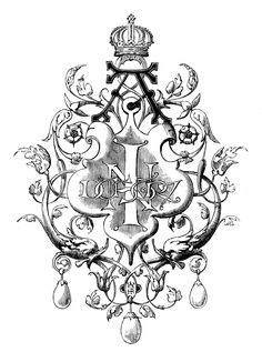 Black and white clip art ornament-Printer ornament--The Graphics Fairy