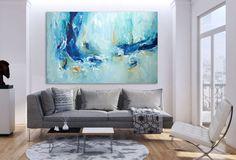 Pintura abstracta grande azul verde arte abstracto pintura