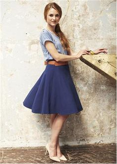 People Tree | Lizzy Blue Flared Jersey Skirt and Millie Button Tee.  Whole outfit please!!