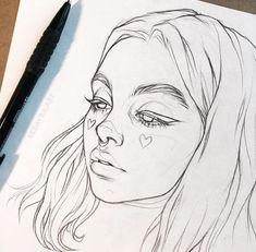 Kunst Zeichnungen - На фото Буду делать в цвете 🌈 . Pencil Art Drawings, Art Drawings Sketches, Cute Drawings, Portrait Sketches, Tumblr Drawings, Tattoo Sketches, Pretty Easy Drawings, Art Drawings Easy, Drawings Of Girls